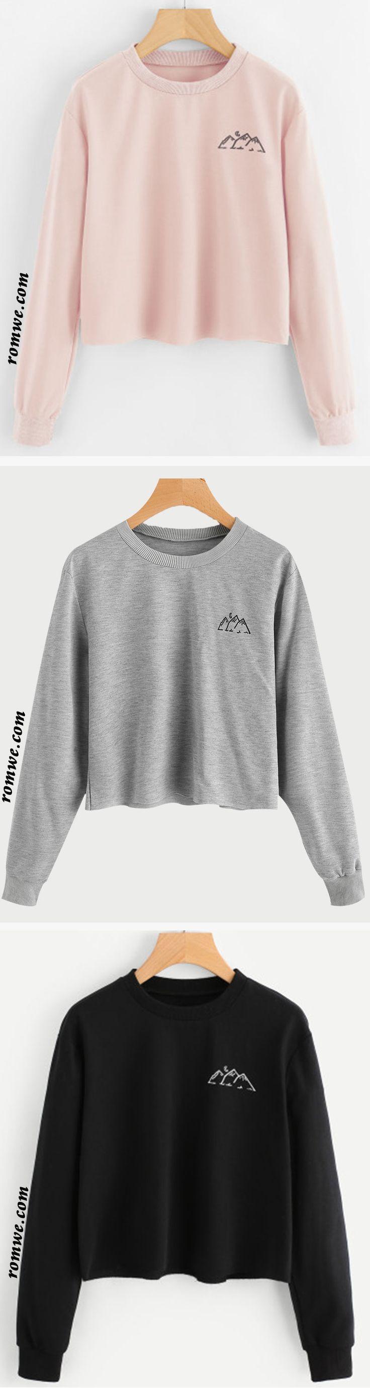 Raw Hem Graphic Print Sweatshirt