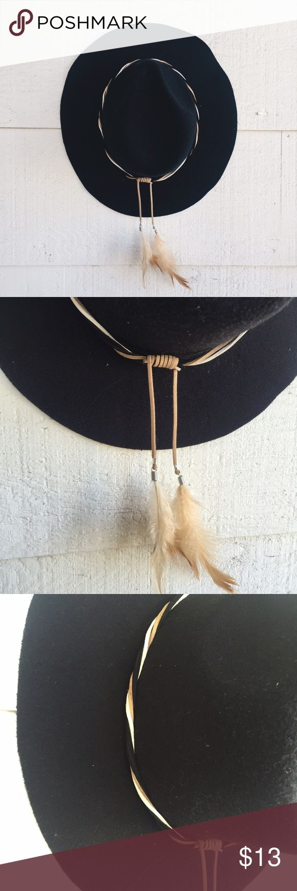 Black fedora hat Feather band Accessories Hats