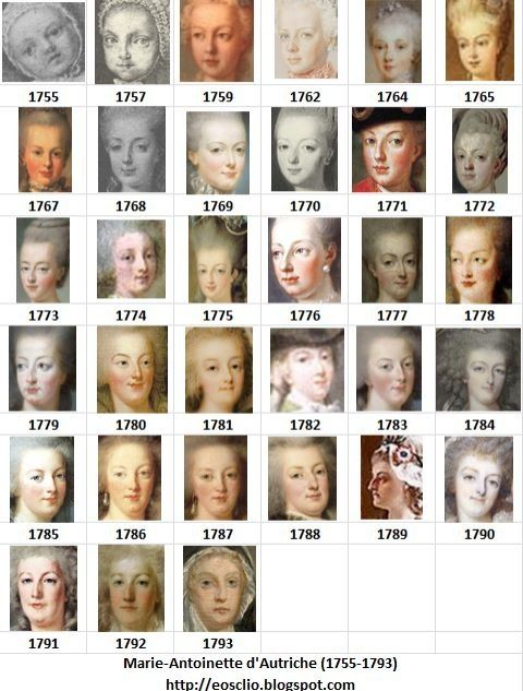 The many faces of Marie Antoinette from her arrival in France from Austria as the young bride to be of the Dauphin, Louis XVI, to her death by guillotine years later.