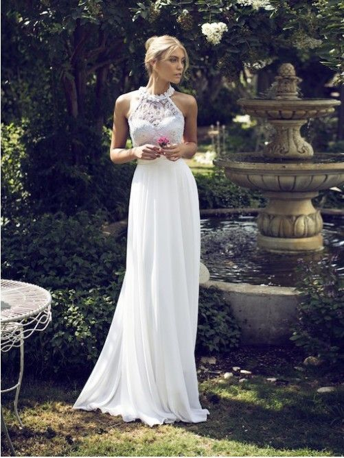 Elegant Sheath/Column Jewel Neckline Floor-Length Chiffon Wedding Dress