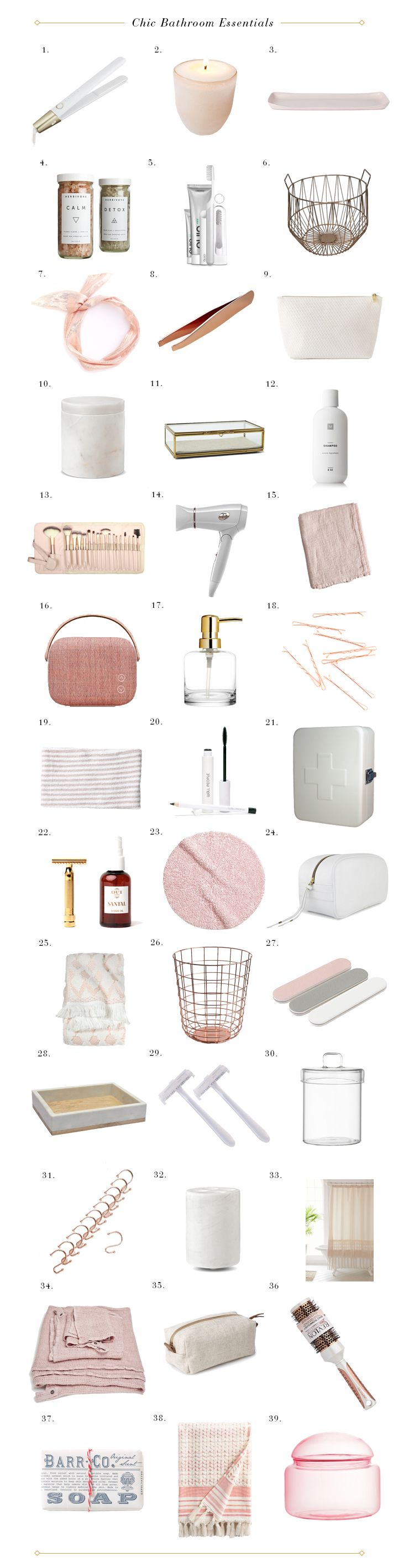 Chic pink and white bathroom essentials bathrooms for Pink and gold bathroom accessories