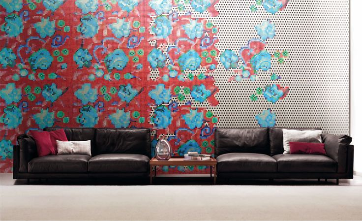 AFFRESCO - from the Bisazza Decorations Flora Collection. A truly contemporary floral mosaic from leading international designer, Paola Navone.