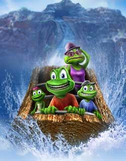 Weeee! One of our favorite family photos. Look at Mommy Frog's face. Hehe