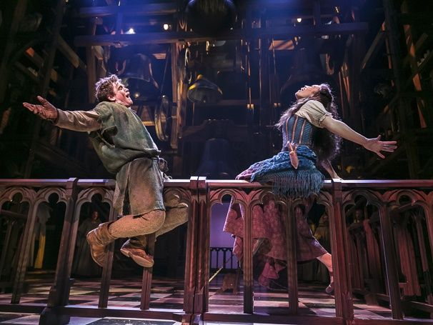 Michael Arden as Quasimodo and Ciara Renee as Esmeralda in The Hunchback of Notre Dame. Photo by Jerry Dalia