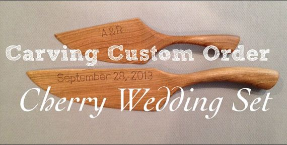 Engraved or Carved Wedding date and initials on rustic wedding cake knife and server set (does not include the knfe or server) on Etsy, $20.00