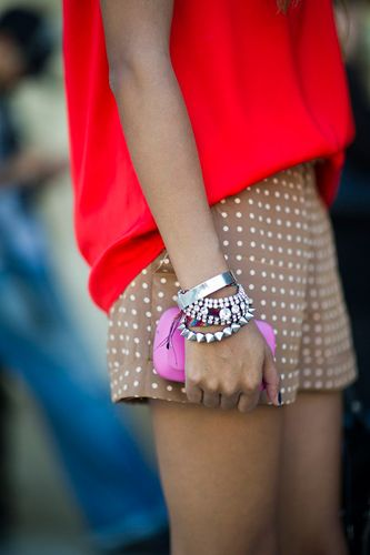 : Red Tops, Spikes, Style, Color Combos, Bracelets, Outfit, Currently, Arm Parties, Polka Dots Shorts