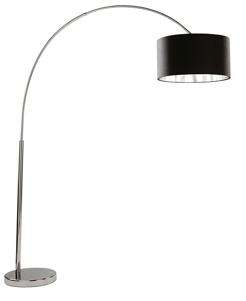 Searchlight 1013cc chrome arc floor lamp with black shade