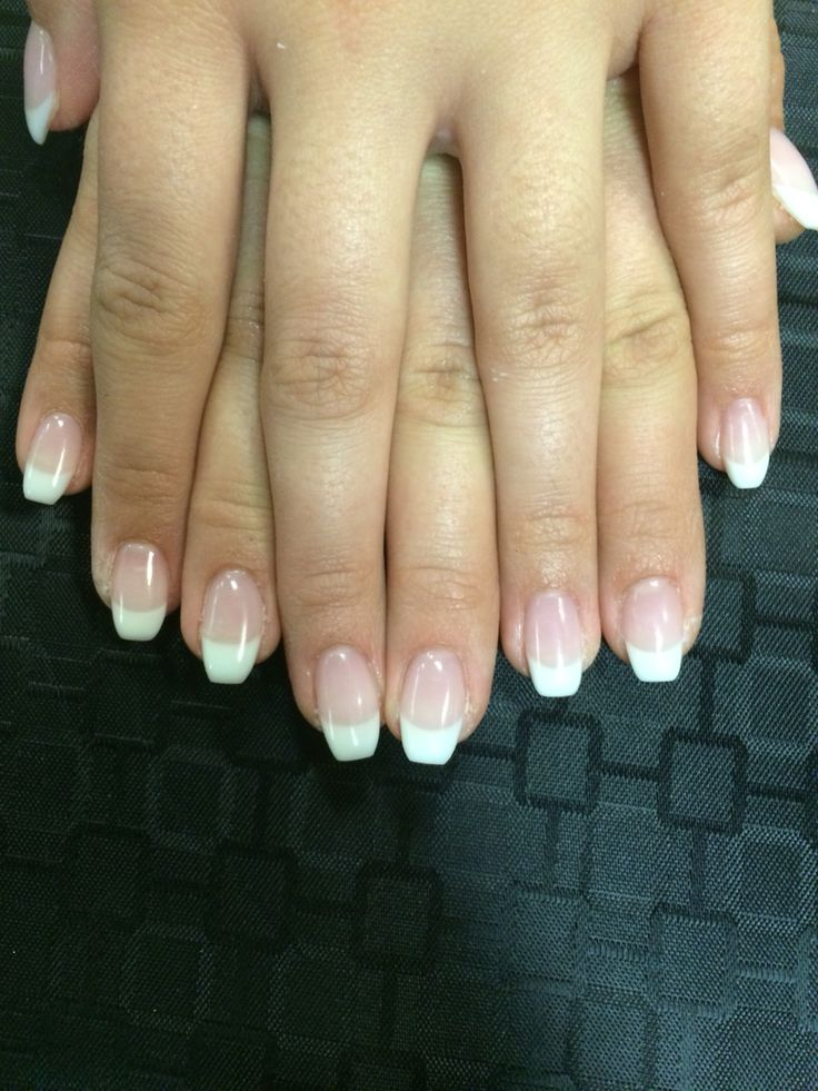 Ballerina shaped French gel nails by Crystal                                                                                                                                                     More