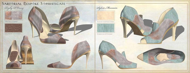 A collection of women's high-heel footwear designs, created using Romans CAD 3-D modeling software; designs based on 1930s ...