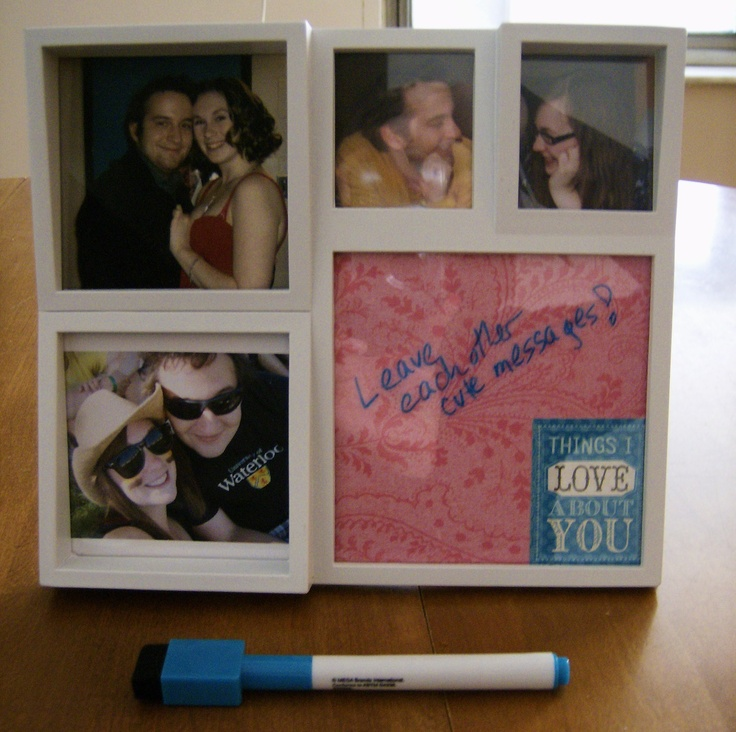 Use a dry erase marker to leave messages for one another in an empty window of your frame!  Dry erase will rub right off of the glass.