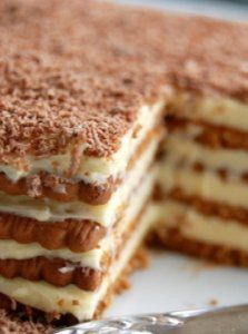 Biskvitena Torta - Bulgarian biscuit cake. A traditional dish you are likely to find on a food tour from Viator. Find out more at: http://www.shareasale.com/r.cfm?u=902724&b=132440&m=18208&afftrack=&urllink=www%2Eviator%2Ecom%2FBulgaria%2Dtours%2FFood%2DWine%2Dand%2DNightlife%2Fd46%2Dg6 #Travel Bulgaria #Bulgarian Food #Food Tours Bulgaria