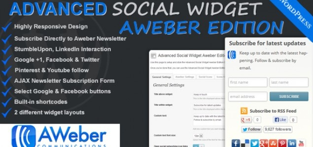 Advanced Social Widget Aweber Edition - New WordPress plugin released. Grab your copy today.   Advanced Social Widget Aweber Edition adds an advanced widget box to your WordPress theme sidebar giving users the ability to link your site to all the popular Social Networking sites such as Delicious, Twitter, Facebook, StumbleUpon, Pinterest, LinkedIn, Youtube and access to FeedBurner & Aweber Email Subscription.