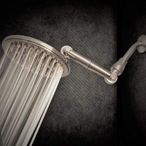 9.5 inch High Pressure Rainfall Shower Head with 6-Way Adjustable Extension Arm 109 Self-Clean Jets; Sealant Tape Included