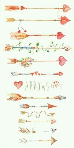 Arrows Сupid's, Hand Drawn Watercolour Clipart. DIY elements, hearts, flowers…