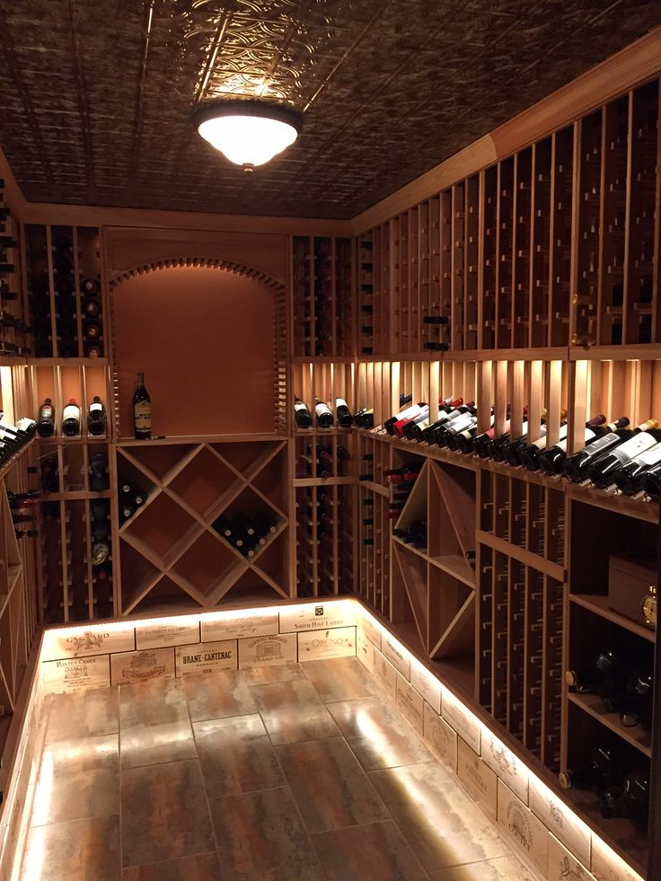 Wine Room with Illuminated Wine Crate Panel Base Wainscot