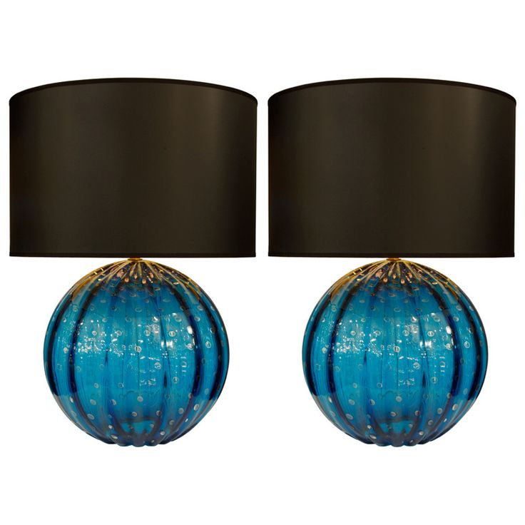 """Pair of Cerulean Murano Glass Globe Lamps by Barovier  Italy  late 20th century  Stunning pair of cerulean blue Murano glass table lamps with 23 carat """"polvera d'Oro"""" gold flecks and """"puleghe"""" (bubbles) throughout. By Barovier."""