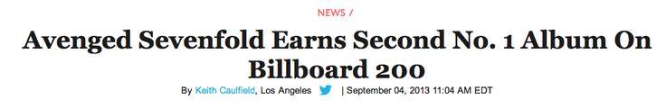 Avenged Sevenfold at #1 US Top 200 http://www.billboard.com/biz/articles/news/chart-alert/5680122/avenged-sevenfold-earns-second-no-1-album-on-billboard-200
