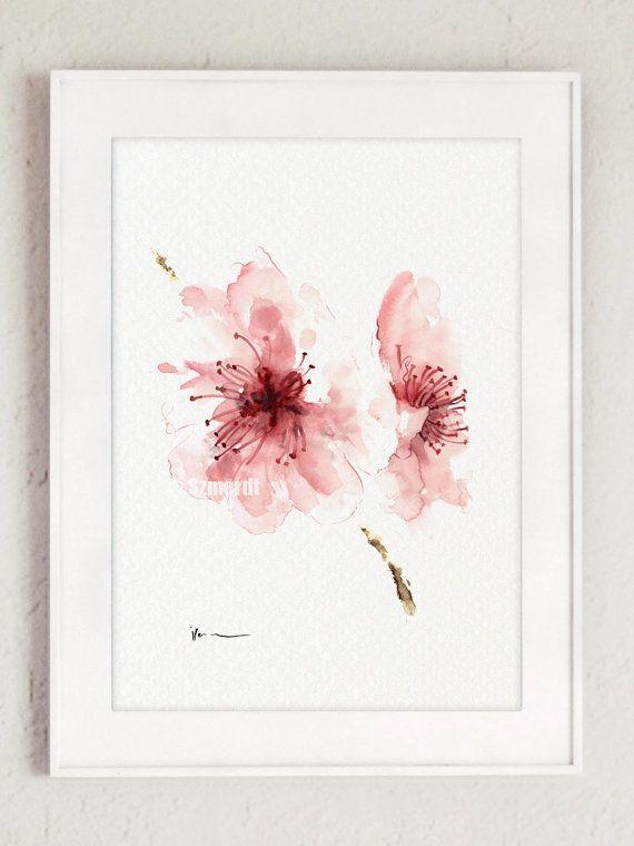 Kirschblute Aquarell Kunstdruck Die Rosa Wanddekoration Ist Zart