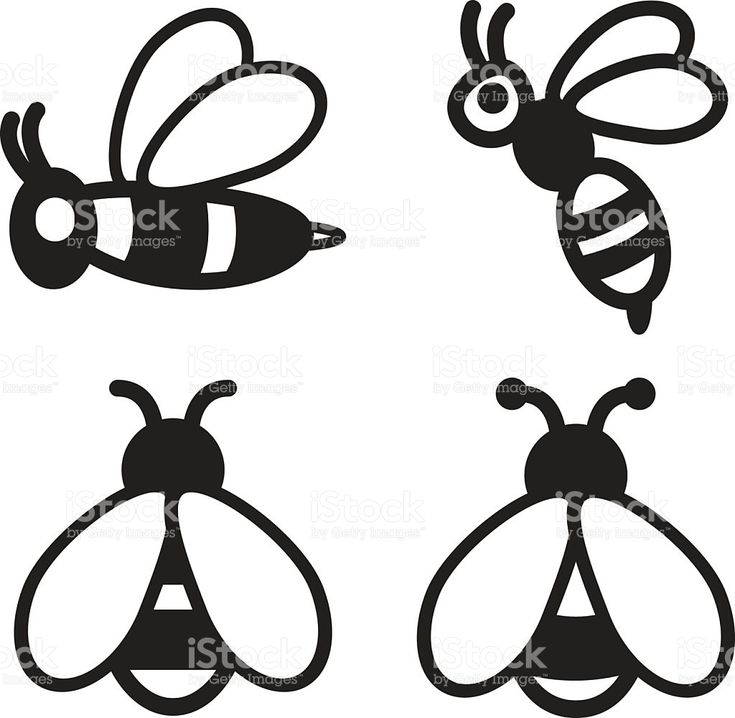 Bee icon in four variations. Vector eps 10. royalty-free stock vector art