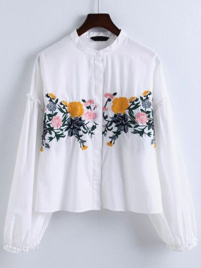White Flower Embroidery Ruffle Trim Blouse