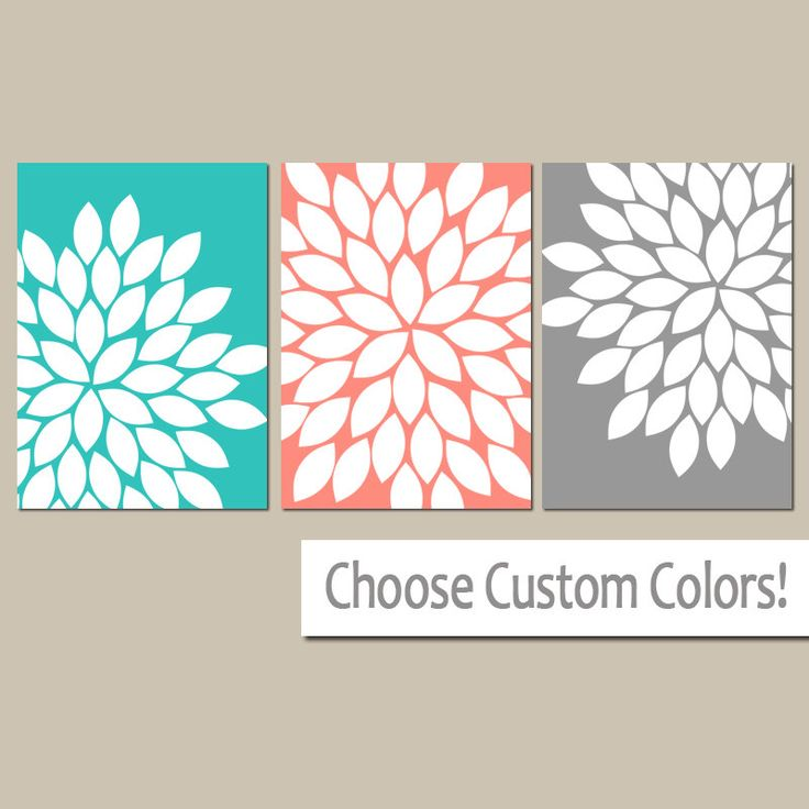 Turquoise Coral Wall Art, CANVAS or Prints Bedroom Pictures, Coral Gray Bathroom Artwork, Flower Burst Wall Art Set of 3 Floral Home Decor by TRMdesign on Etsy https://www.etsy.com/listing/158069945/turquoise-coral-wall-art-canvas-or