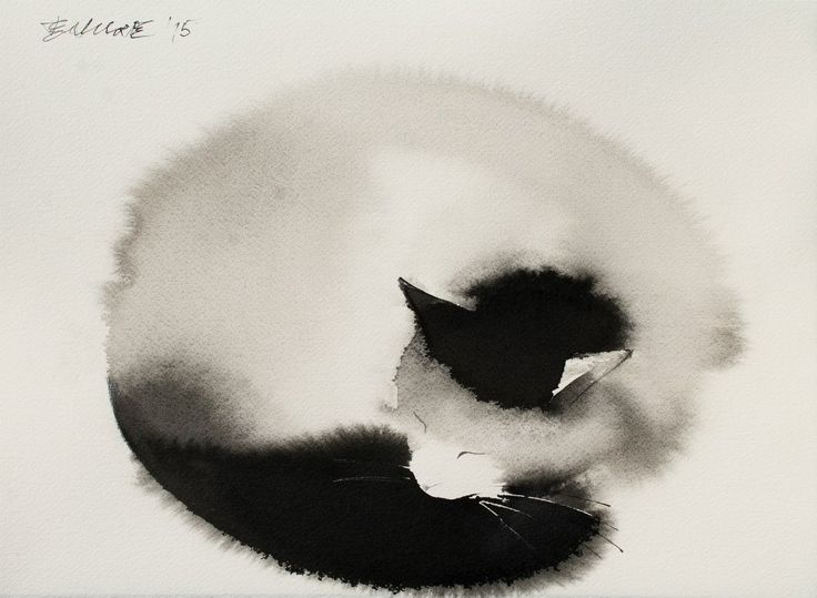 Serbian artist Endre Penovác's ability to somehow control the unforgiving nature of water on paper to produce ghostly paintings of felines. As the mixture of water and black ink bleeds in every direction it appears to perfectly mimic the cat's fur. In his newest pieces Penovác introduces elements of color and negative space to add a slightly new dimension. You can see more of his recent work on Facebook and Saatchi Art.