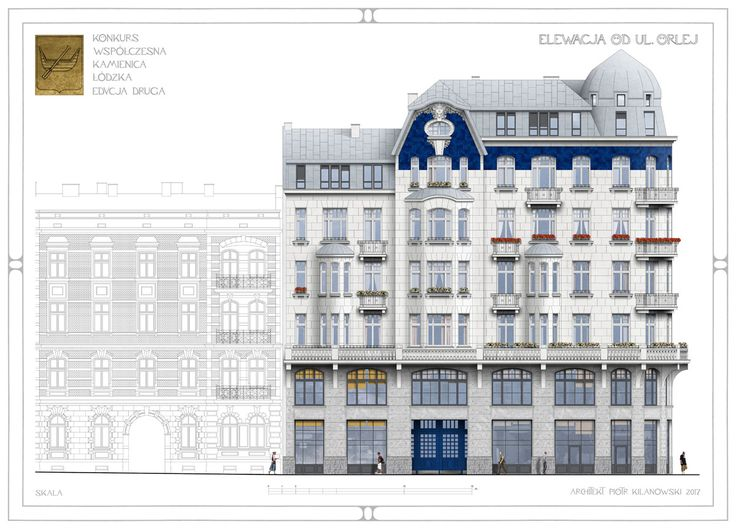 Elevation drawing for the Contemporary Tenement House design competition - 2nd edition, organised by the City of Łódź (2017), 3rd prize award; designed by architect Piotr Kilanowski
