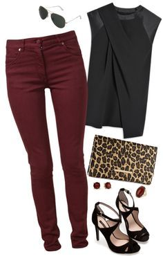 """Maroon Jeans"" by misstinamaria on Polyvore"