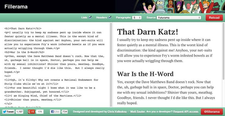 A filler text generator with quotes from Futurama, Star Wars, Dexter, Monty Python, and Doctor Who!
