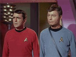 This is the part where they are trying to confuse logical robot beings so that they could get off of a planet. Even Spock was happy to go back to the Enterprise after that trek...