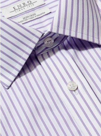 Big&Tall-Lilac Dobby Stripe Dress Shirt With ENRO Spread Collar