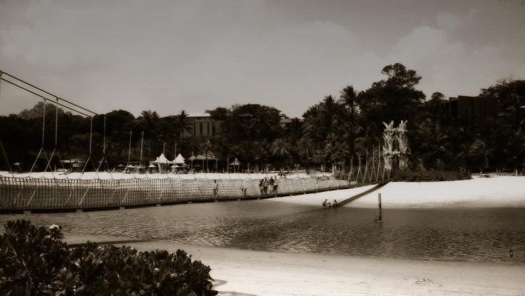 Hanging bridge in Sentosa island, Singapore