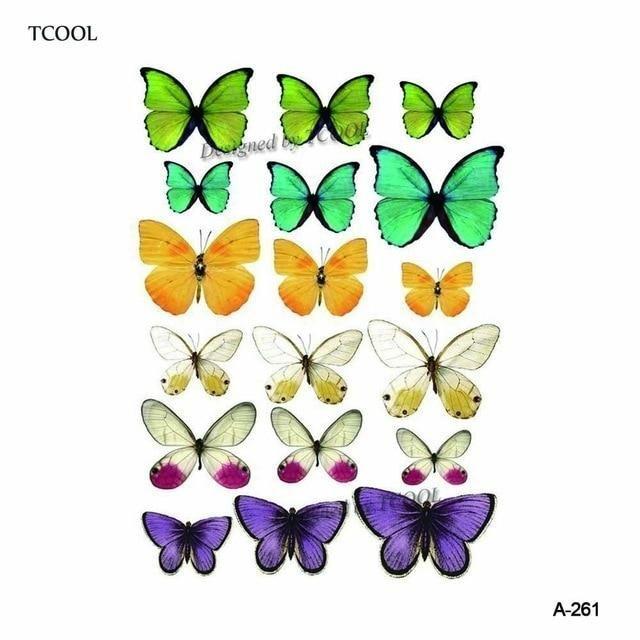 HXMAN Watercolor Butterfly Temporary Tattoo Sticker Waterproof Women Fake Tattoo…