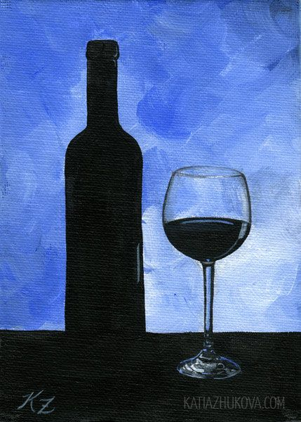 Original FRAMED Acrylic Painting on Canvas Board 'Wine Glass' Still Life 5x7