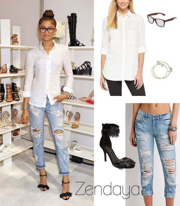 Celebrity Looks :      Picture    Description  Zendaya Coleman wears a white button down shirt, destroyed denim and strappy heels for the debut of her new shoe collection, Daya.    - #Celebrity https://looks.tn/celebrity/celebrity-looks-zendaya-coleman-wears-a-white-button-down-shirt-destroyed-denim-and-strappy-hee/
