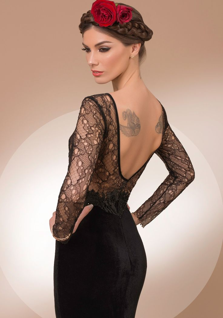 My Secret Night, black lace and velvet luxury evening dress, 2016 My Secret by Bien Savvy