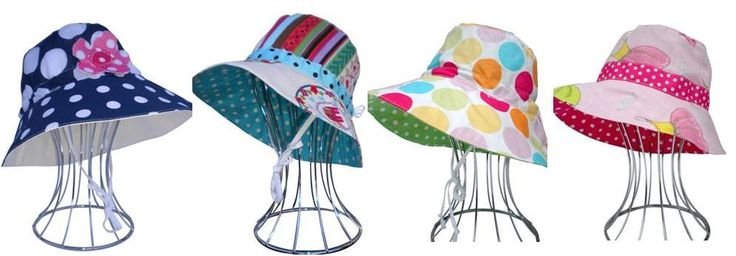 Reversible Sun Hats for girls, sizes from Newborn to 10yrs