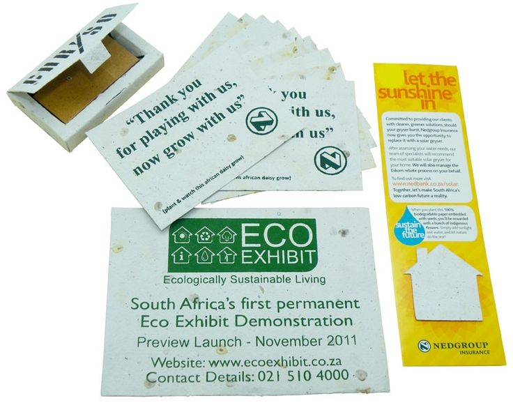 Seeded paper business cards, bookmarks, invitations and usb holders