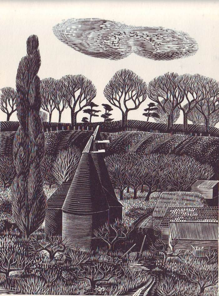 landscapemode:  Monica Poole (England, 1921-2003) from 'Vision of England ; Kent' by Reginald Turner with wood engravings by Monica Poole