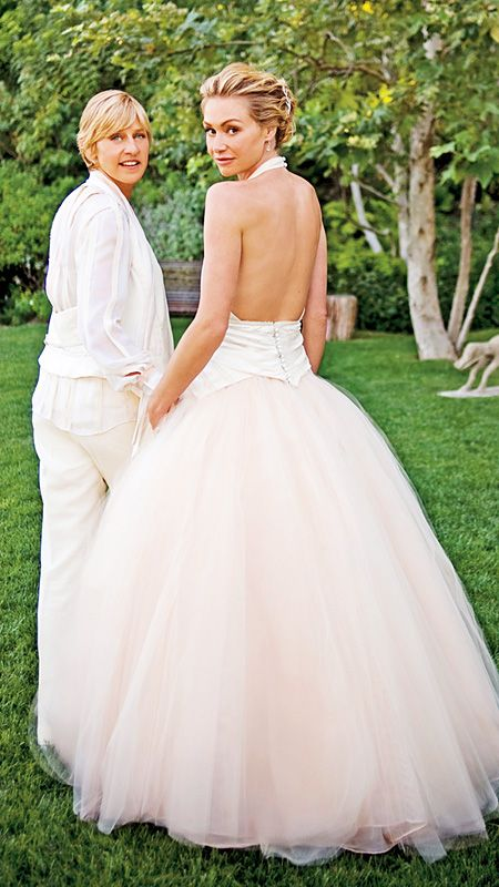 The Best Dressed Celebrity Brides of All Time - Portia De Rossi and Ellen DeGeneres from InStyle.com