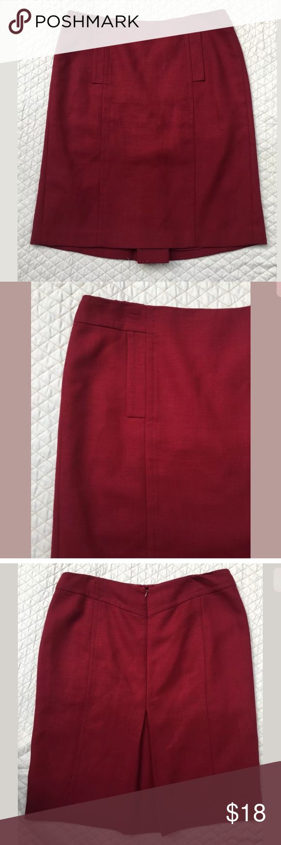Ann Taylor Size 14 Red Straight Pencil Skirt Ann Taylor burgandy color, size 14 skirt. Waist measures 17.5. Length from waist to bottom is 24.5 inches. Pockets on the front sides. Zipper on the back. Fully lined Ann Taylor Skirts Asymmetrical