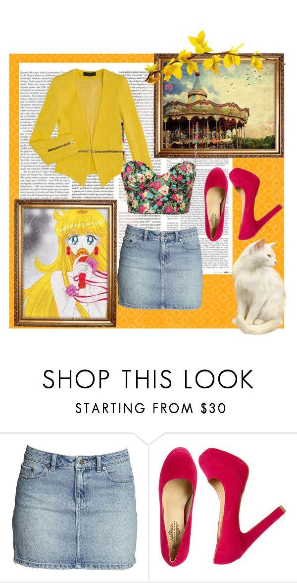 """""""Minako"""" by kyohono ❤ liked on Polyvore featuring Topshop, Wet Seal, suede pumps, denim shirts, floral bustiers, sailor venus and blazers"""