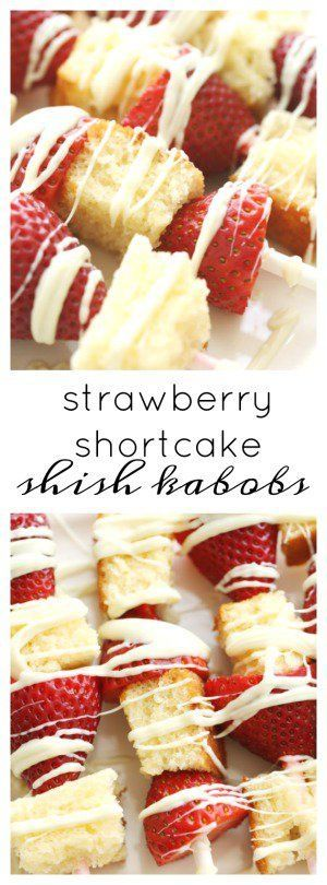 Strawberry Shortcake Shish Kabobs from Six Sisters Stuff | Spring Dessert Recipe | Barbecue Desserts | Party Food