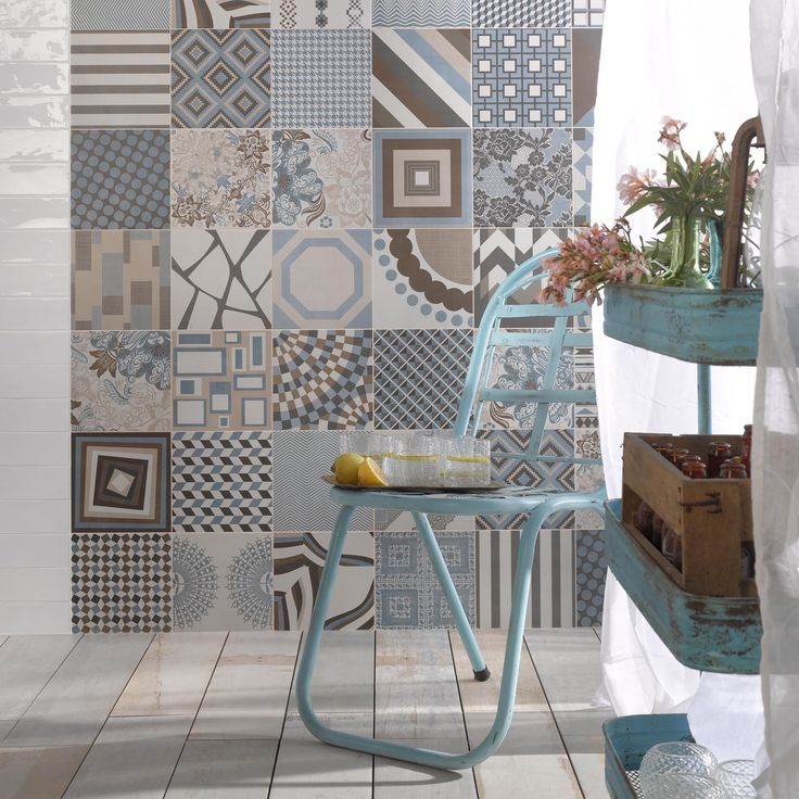 SomerTile 17.625x17.625-inch Breccia Azul Floor and Wall Tile