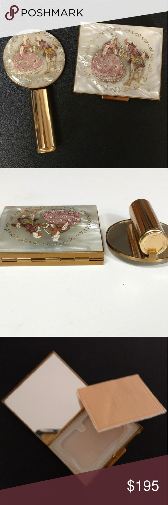 Vintage 1950s compact & lipstick set Wiesner This set is by Wiesner of Miami from their Trickettes line.  You can find ads for Wiesner in nearly every 1950s issue of Vogue.  Never used, the compact still has the sticker affixed.  The covers are mother of pearl with an 18th century romantic scene.  Both compact and lipstick holder have mirrors. Very rare item, especially as a set in this condition. Vintage Accessories