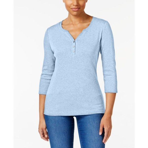 Karen Scott Cotton Henley Top, Created for Macy's ($9.98) ❤ liked on Polyvore featuring tops, light blue heather, henley tops, karen scott tops, light blue top, karen scott and blue top