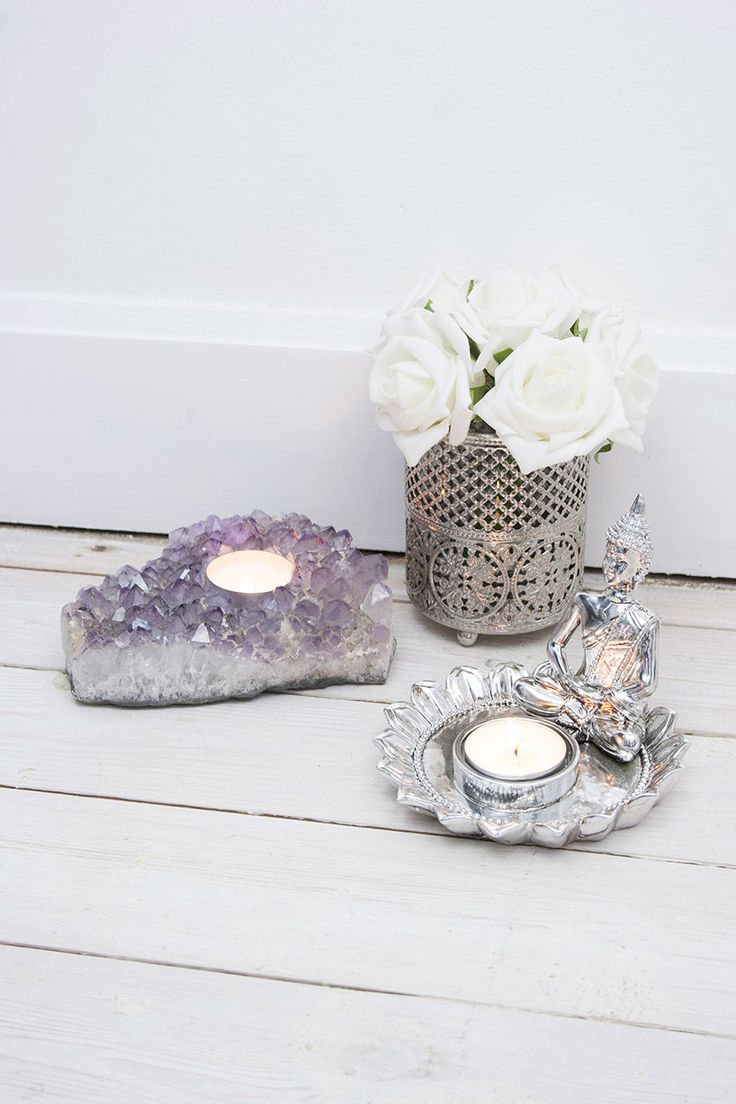 Silver Buddha Tea Light Holder #homeware #home #homesweethome #interiors #homeinteriors #candle #candles #buddhism #calm #amethyst #roses #whiteroses #rose #delicate #pretty