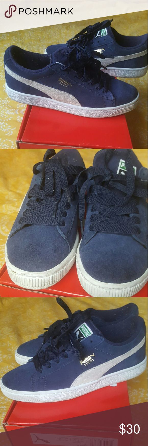 Puma suede sneakers boys Navy blue great condition sneakers no damage to these comfy pair will be sent with box Puma Shoes Sneakers