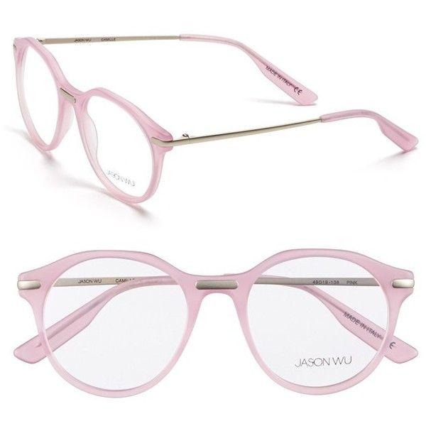 Jason Wu 'Camille' 49mm Optical Glasses ($240) ❤ liked on Polyvore featuring accessories, eyewear, eyeglasses, glasses, pink, retro eyeglasses, jason wu, jason wu eyeglasses, pink eyeglasses y pink glasses