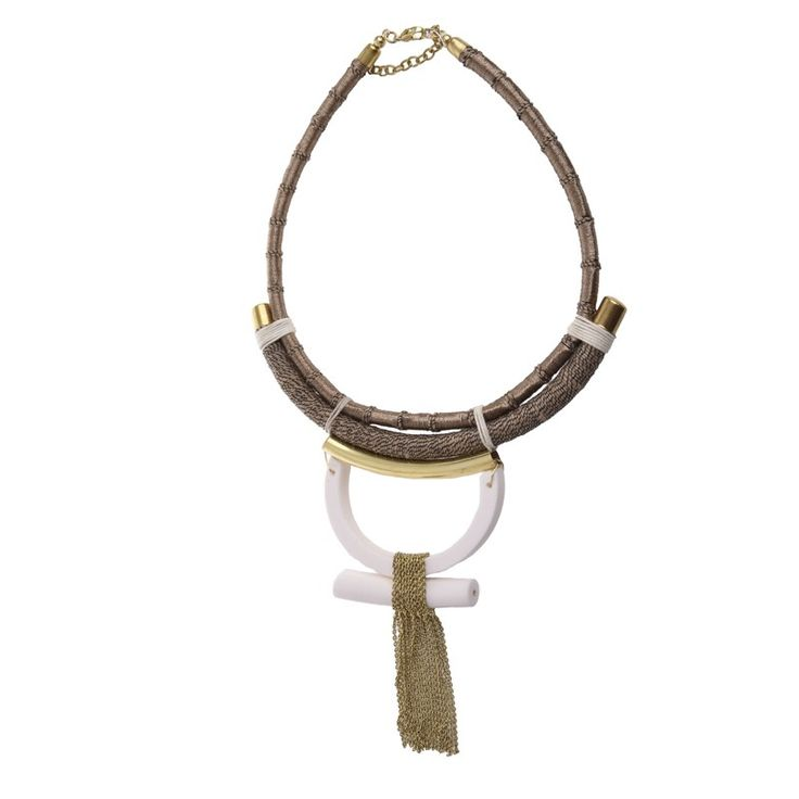 NECKLACE IN BEIGE-WHITE COLOR - Necklaces - Jewellery - Accessories